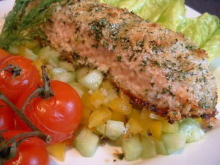 Baked salmon with a herb crust