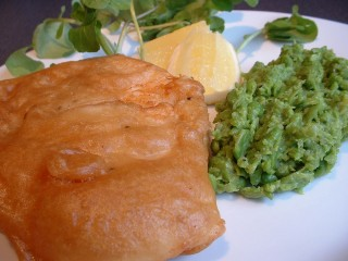 Fillet of cod in beer batter