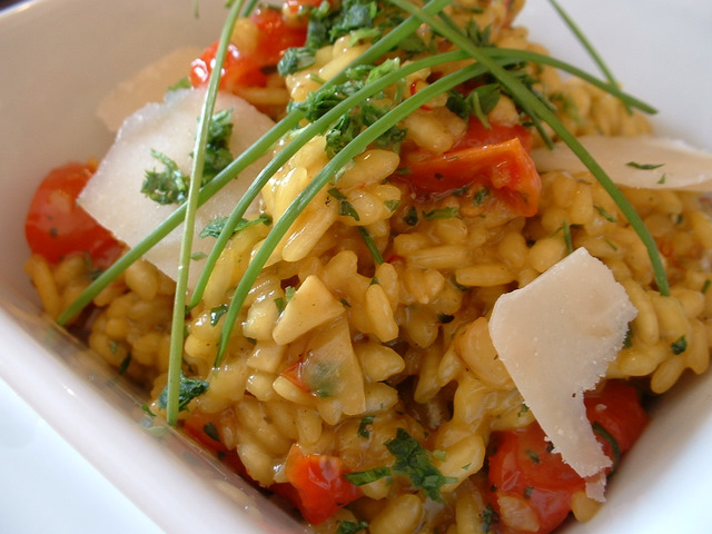 Herb risotto with sun-blushed tomatoes