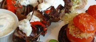 Lamb and red onion kebabs