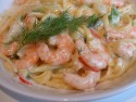Linguine with king prawns and saffron
