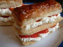 Strawberry and cream slices