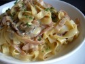Tagliatelle with ham and mushrooms